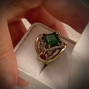 EMERALD RUBY GEM RING Size 8 Solid 925 Silver/Gold
